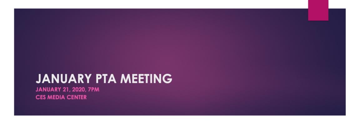 PTA Meeting Jan